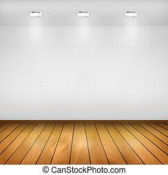 achtergrond., houtenvloer, drie, realistisch, vector, lampen, interior., muur