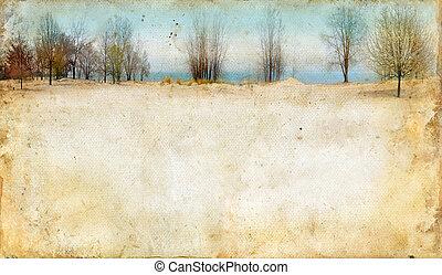 achtergrond, langs, grunge, meer, bomen