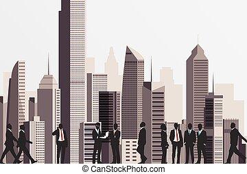 achtergrond., mensen zaak, gebouw, silhouettes, wolkenkrabber