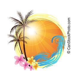 achtergrond, palm, ronde, bomen