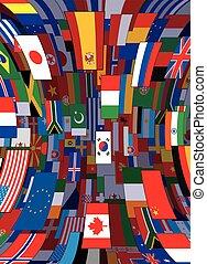 achtergrond., politiek, vector, vlaggen, achtergrond, wereld