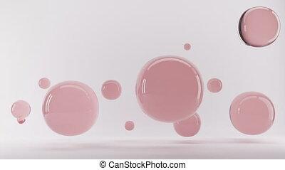 achtergrond., render, roze, gelul, transparant, glas, 3d, intro, animatie, witte , springt, het vallen