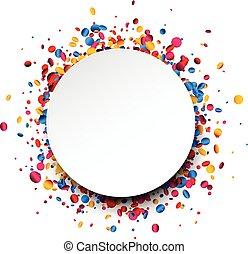 achtergrond, ronde, confetti., kleurrijke