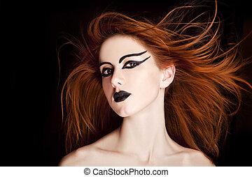 achtergrond, roodharig, closeup, vrouwlijk, verticaal, model, black