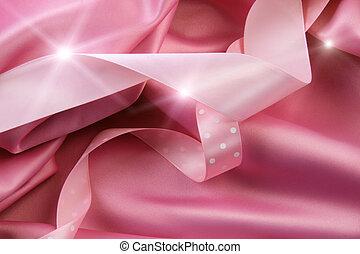 achtergrond, roze, linten, satijn, zijde