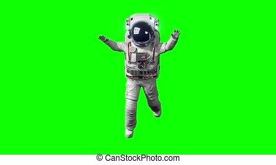 achtergrond., ruimtevaarder, vrijstaand, -, ruimte, groene, zwevend