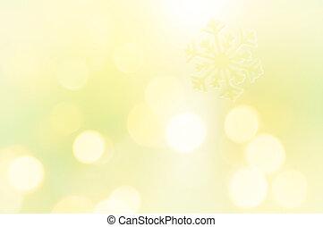 achtergrond, schitteren, sneeuwvlok, gele