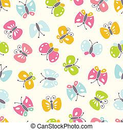 achtergrond, seamless, kleurrijke, butterfies