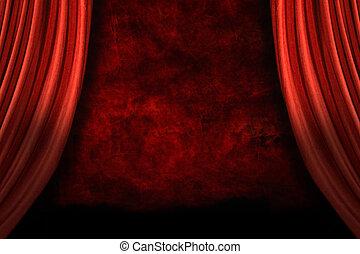 achtergrond, toneel, grunge, drapes