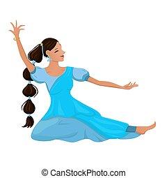 achtergrond., vector, indiër, meisje, vrijstaand, nationale, witte , het dansen., mooi, graphics., kostuum