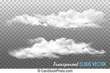 achtergrond., vector, wolken, transparant