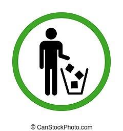 achtergrond., vrijstaand, afval, witte , illustration., pictogram, vector