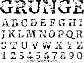 achtergrond., vrijstaand, brieven, textured, alphabet., armoedig, black , grunge, font., getallen, witte