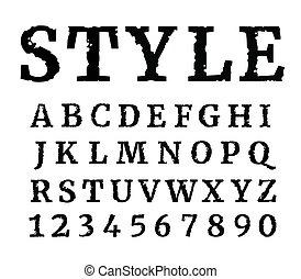 achtergrond., vrijstaand, brieven, textured, alphabet., black , grunge, font., getallen, witte
