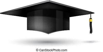 achtergrond, vrijstaand, pet, witte , afgestudeerd