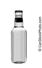 achtergrond, vrijstaand, waterglas, fles, soda, witte