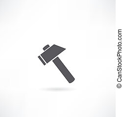 achtergrond., witte , silhouette, hammer.