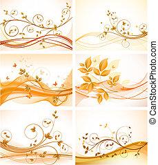 achtergronden, set, floral, abstract