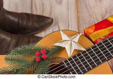 achtergrondmuziek, kerstversiering, land