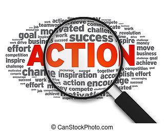 actie, glas, -, vergroten