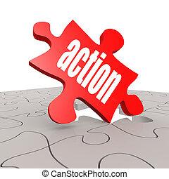 actie, raadsel, woord, achtergrond