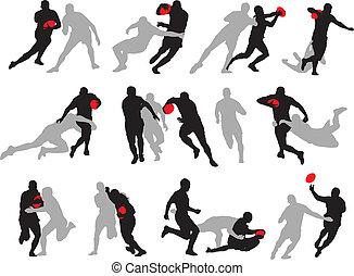 actie, silhouette, maniertjes, groep, rugby