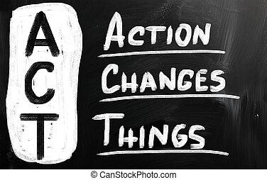 actie, spullen, verandering