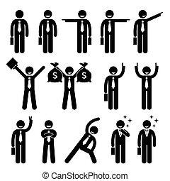 actie, zakenman, maniertjes, vrolijke