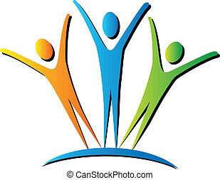 actief, logo, mensen