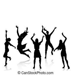 actief, silhouettes, gelukkige vrouwen