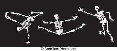 actief, witte , black., skeletten