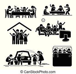 activiteiten, home., familie tijd