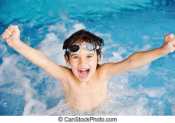 activiteiten, pool, spelend, water, summertime, kinderen, geluk, zwemmen