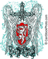 adelaar, heraldisch, kam, kruis