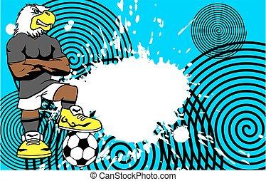 adelaar, spotprent, achtergrond, voetballer, sportief, sterke