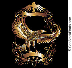 adelaar, vector, kunst, schild, goud