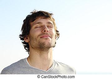 ademhaling, man, buiten, aantrekkelijk
