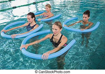 aerobics, w, blauwgroen, fitheid brengen onder