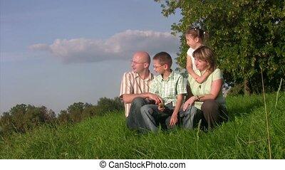 afar., gras, zit, blik, gezin