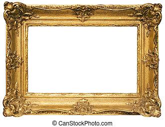 afbeelding, af)knippen, goud, van hout vensterraam, plated, steegjes