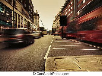 afbeelding, verbazend, verkeer, het voorstellen, stedelijke