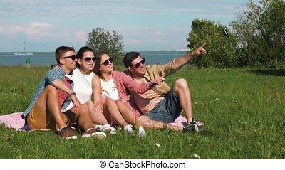 afbeelding, zomer, boeiend, stok, vrienden, selfie