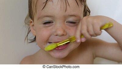 afborstelen, jongen, zijn, teeth