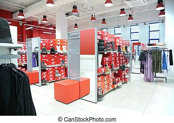 afdeling, kleding, buitenst, foot-wear, winkel