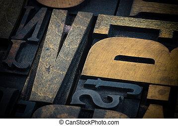 afdrukken, gevallen, hout, brief