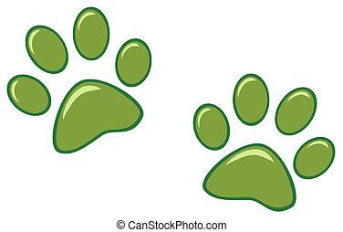 afdrukken, groene, poot