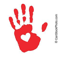 afdrukken, hart, hand, pictogram