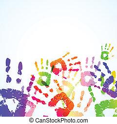 afdrukken, kleurrijke, achtergrond, hand