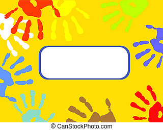 afdrukken, kleurrijke, hand