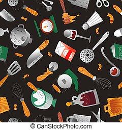 afdrukken, model, vector, illustratie, goed, hand, apparaat, scandinavische, getrokken, voorwerpen, keuken, stijl, textuur, pot, keukengerei, seamless, het koken